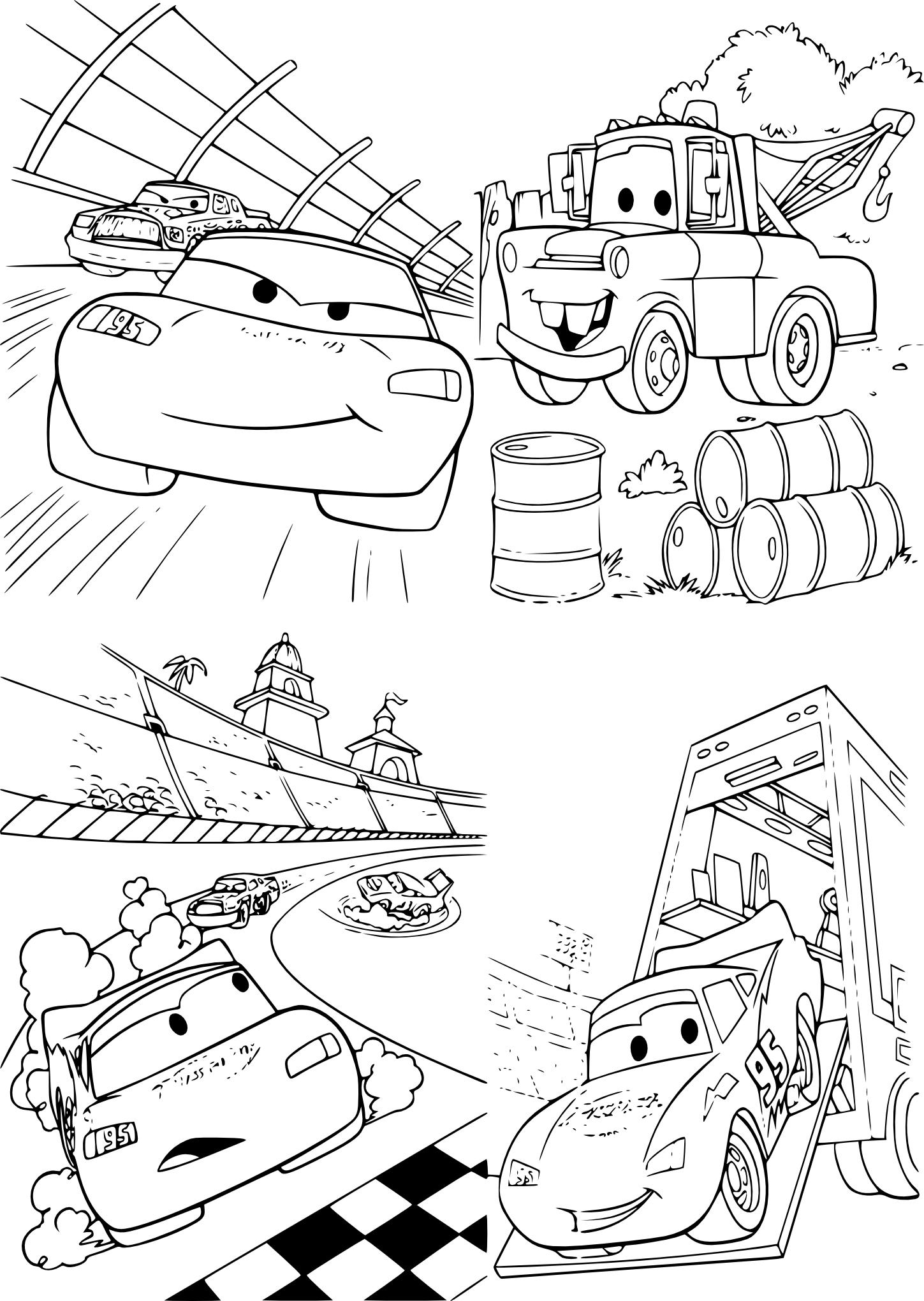 Coloriage Cars Flash et Martin à imprimer