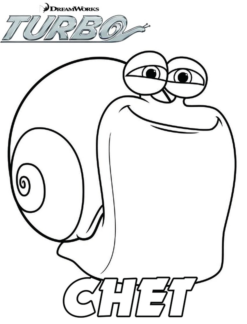 Coloriage Chet Turbo l'escargot