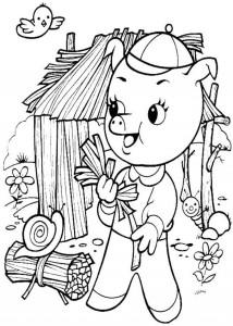 Coloriage cochon maison paille