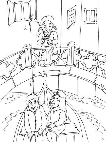Coloriage couple Venise