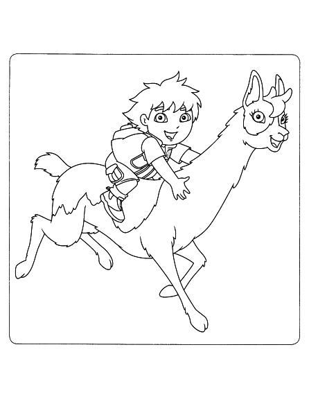 Coloriage Diego et lama à imprimer