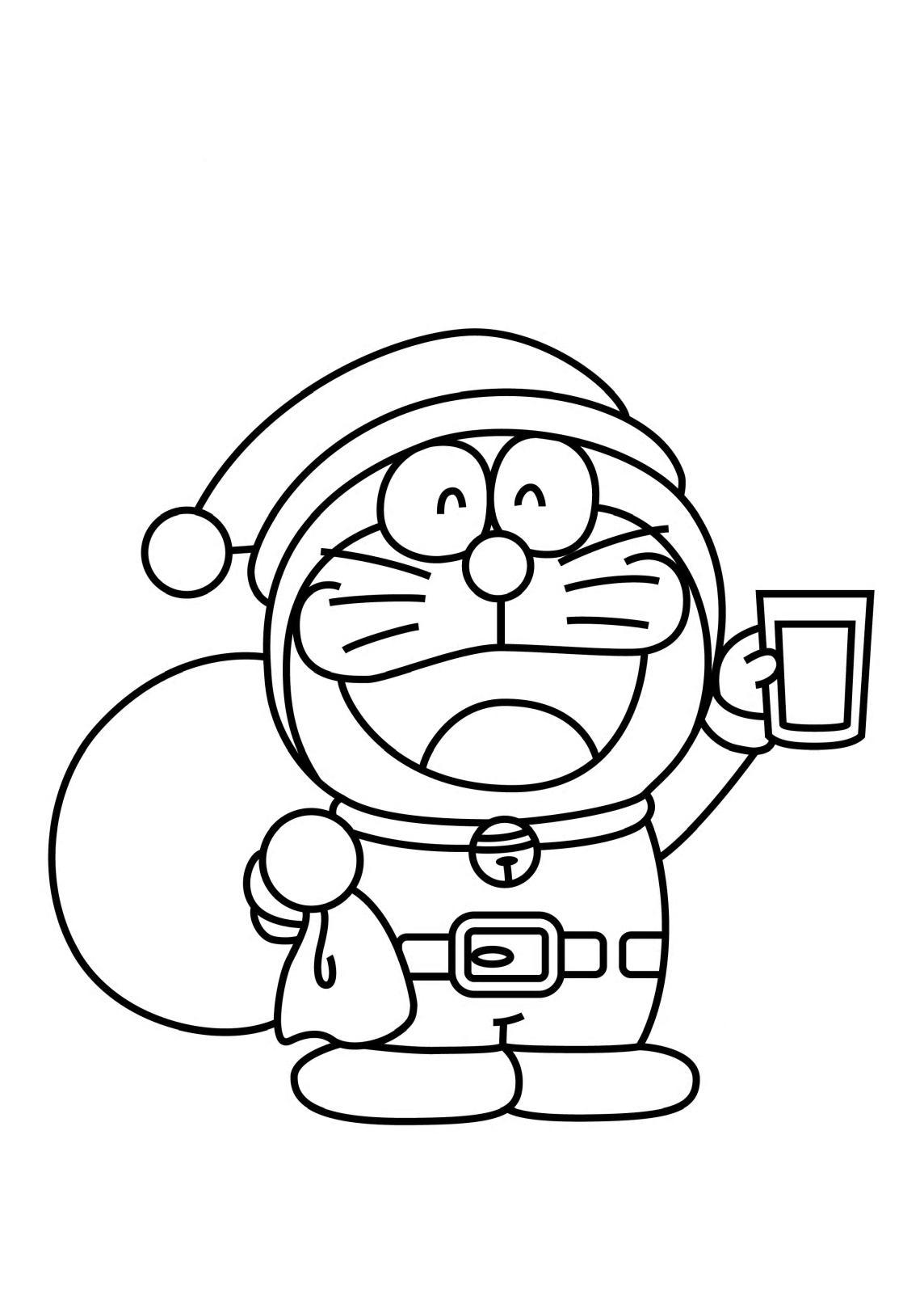 Coloriage Doraemon est le pere noel