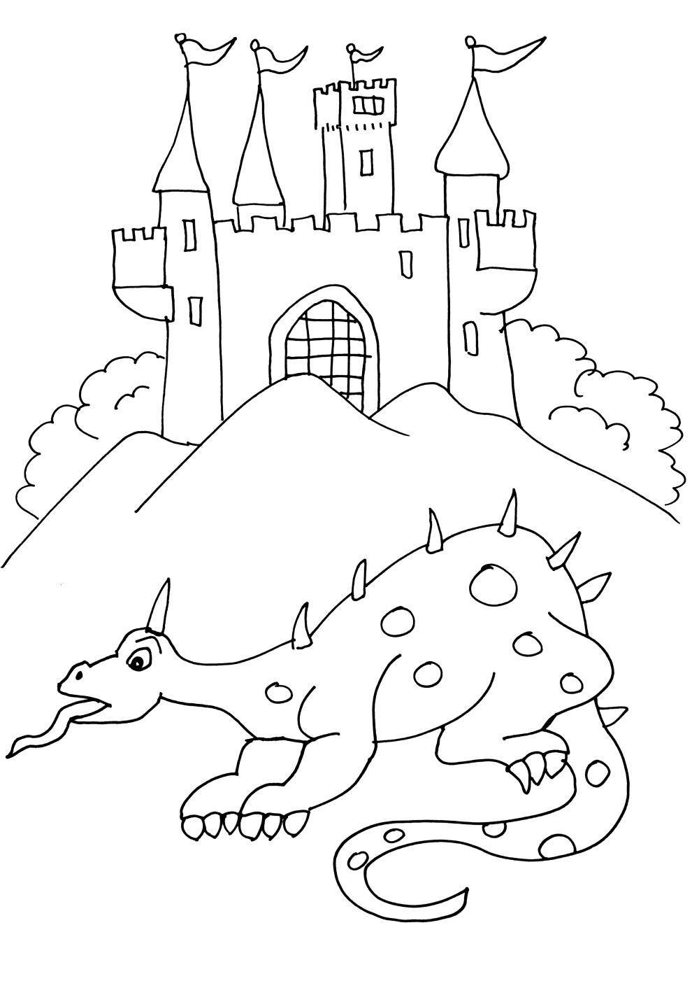 Coloriage dragon à coté d'un chateau à imprimer