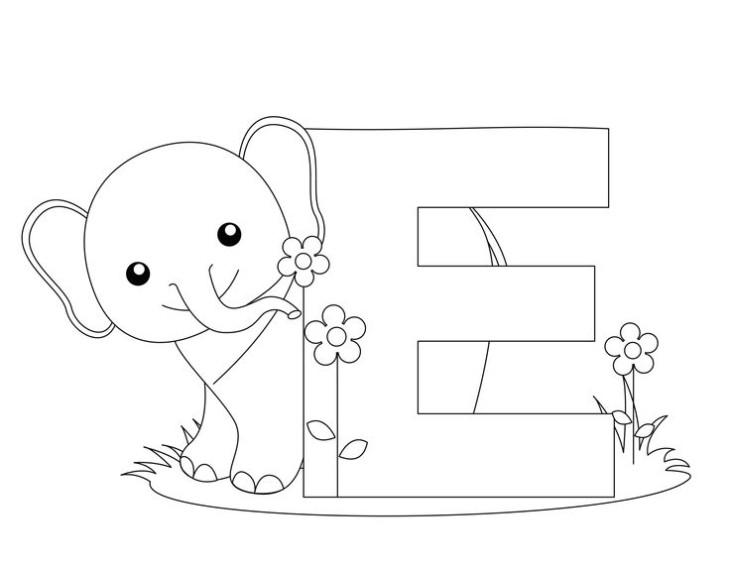 Coloriage E comme éléphant