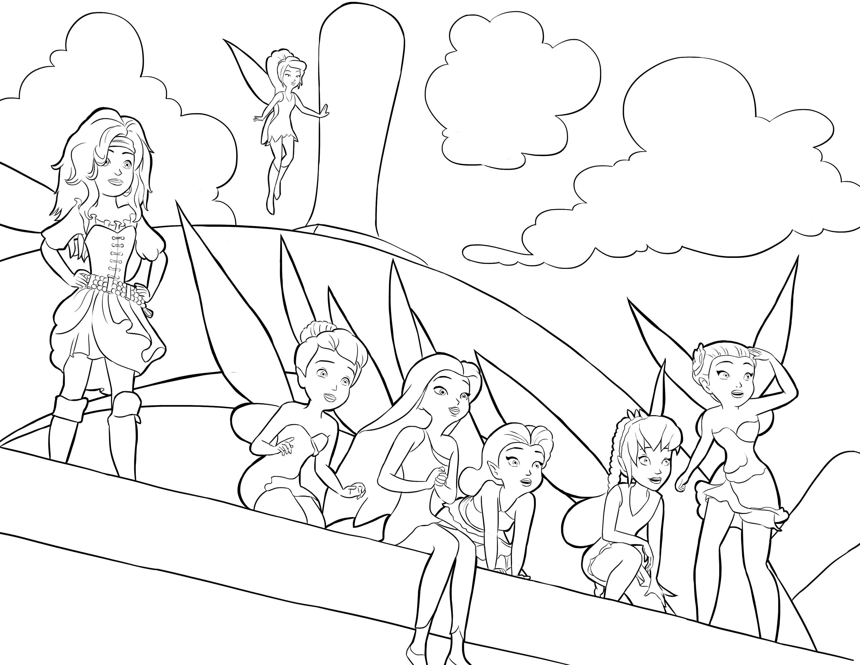 Coloriage fée clochette et les pirates
