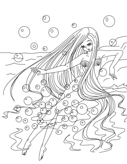Coloriage fille sirene
