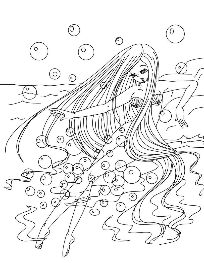 Coloriage fille sirene