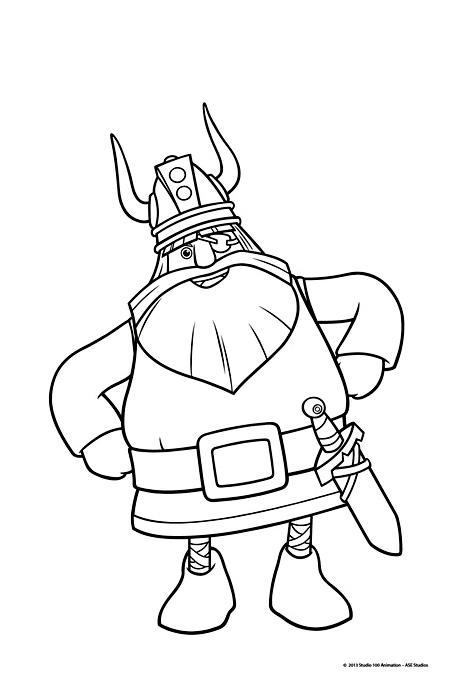 Coloriage Halvar Vic le viking