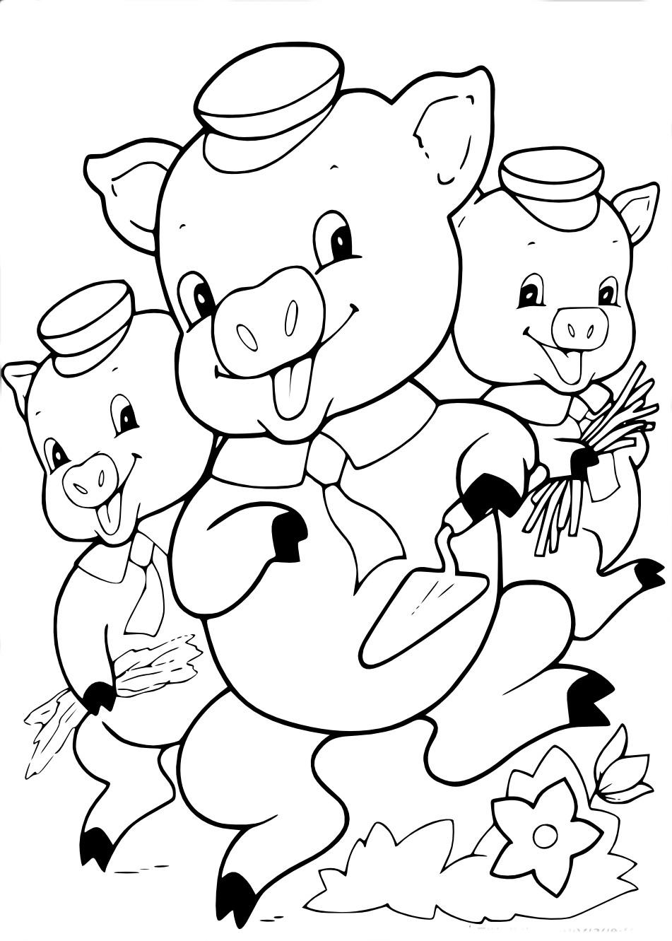 Coloriage les trois petits cochons imprimer - Coloriage les trois petit cochons ...