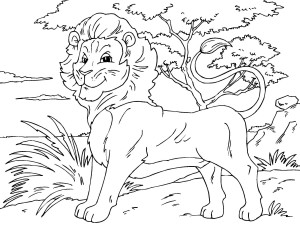 Coloriage Lion roi de la jungle