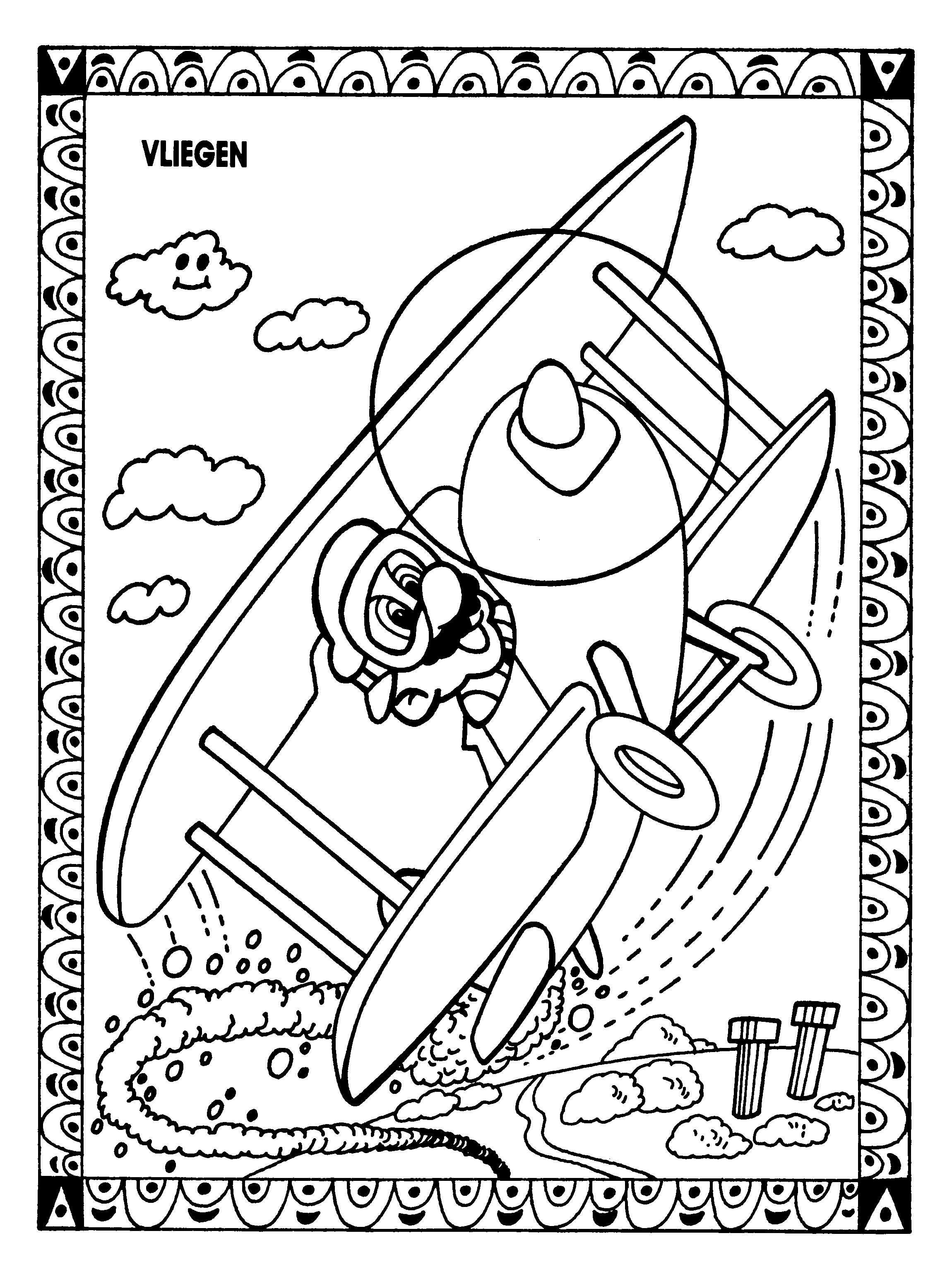 Coloriage Mario avion