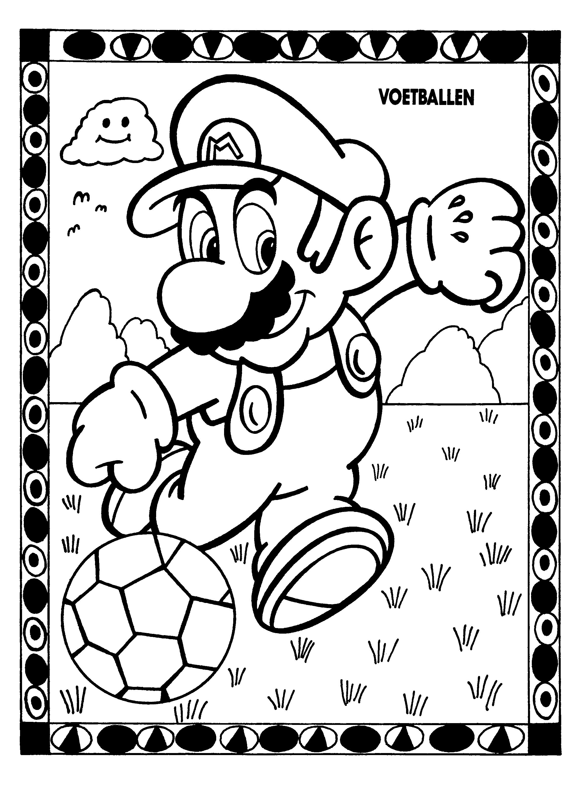 Coloriage Mario joue au football à imprimer