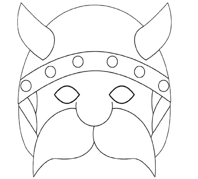 coloriage masque gaulois 224 imprimer