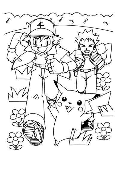 Coloriage Sacha Pierre Pikachu imprimer