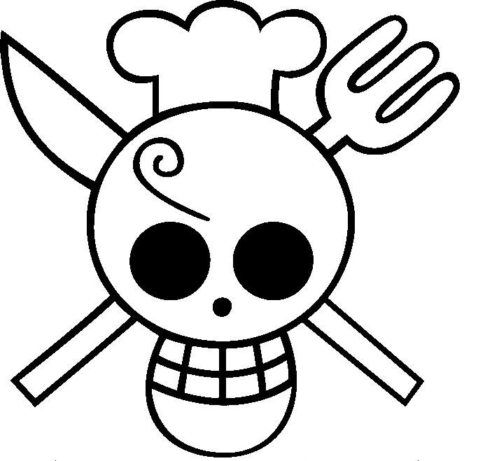 coloriage tete de mort cuisinier à imprimer