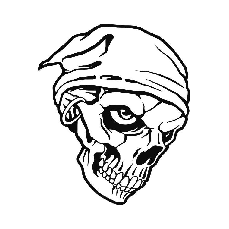 Coloriage tete de mort pirate des caraibes
