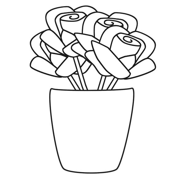 Coloriage vase de fleurs imprimer - Dessiner un vase ...
