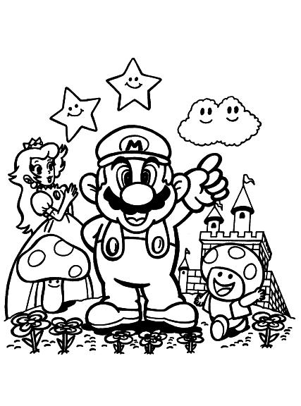Kleurplaten Mario Bros.Kleurplaat Mario Daisy Mario Bros Princess Daisy Coloring Page Free