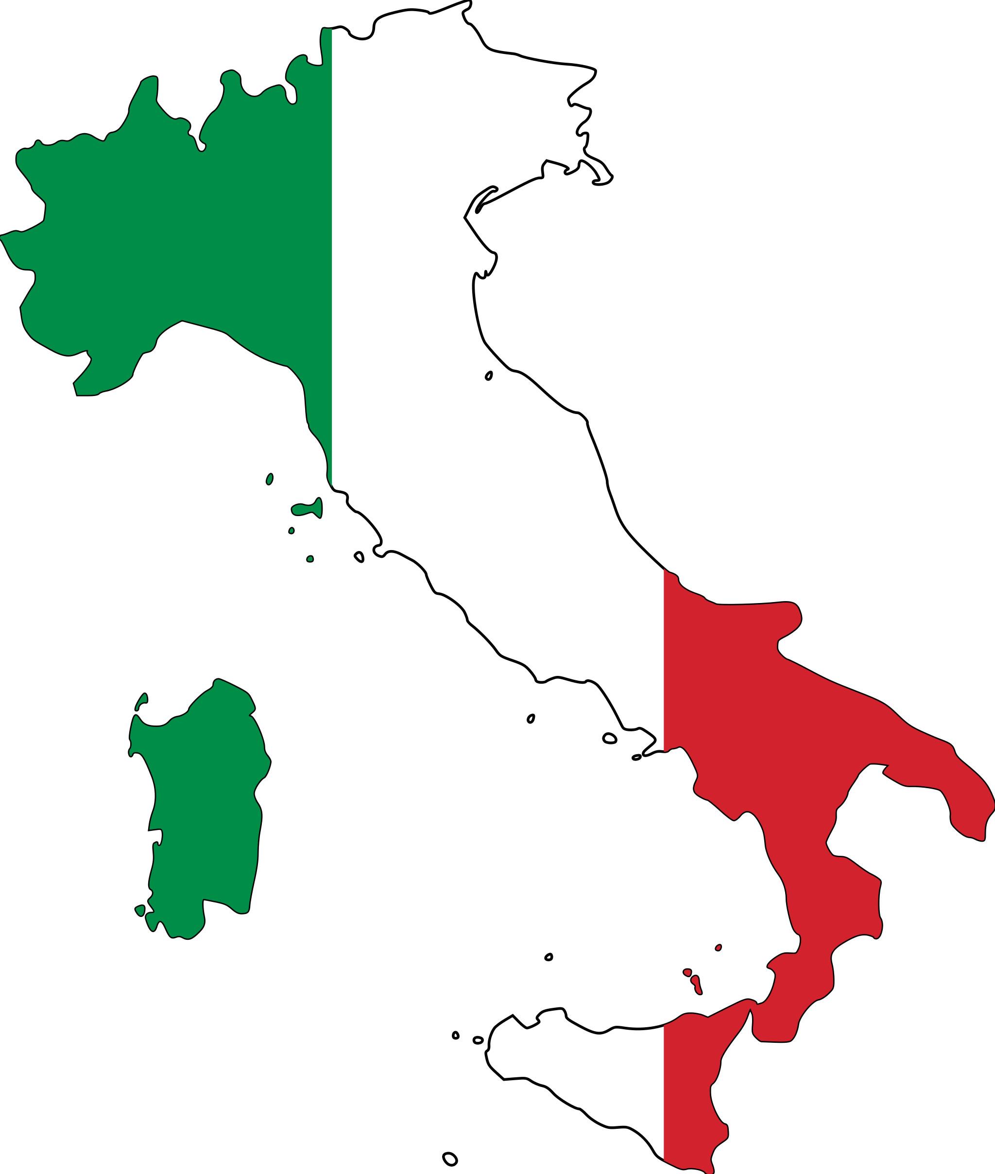 Coloriage carte Italie à imprimer
