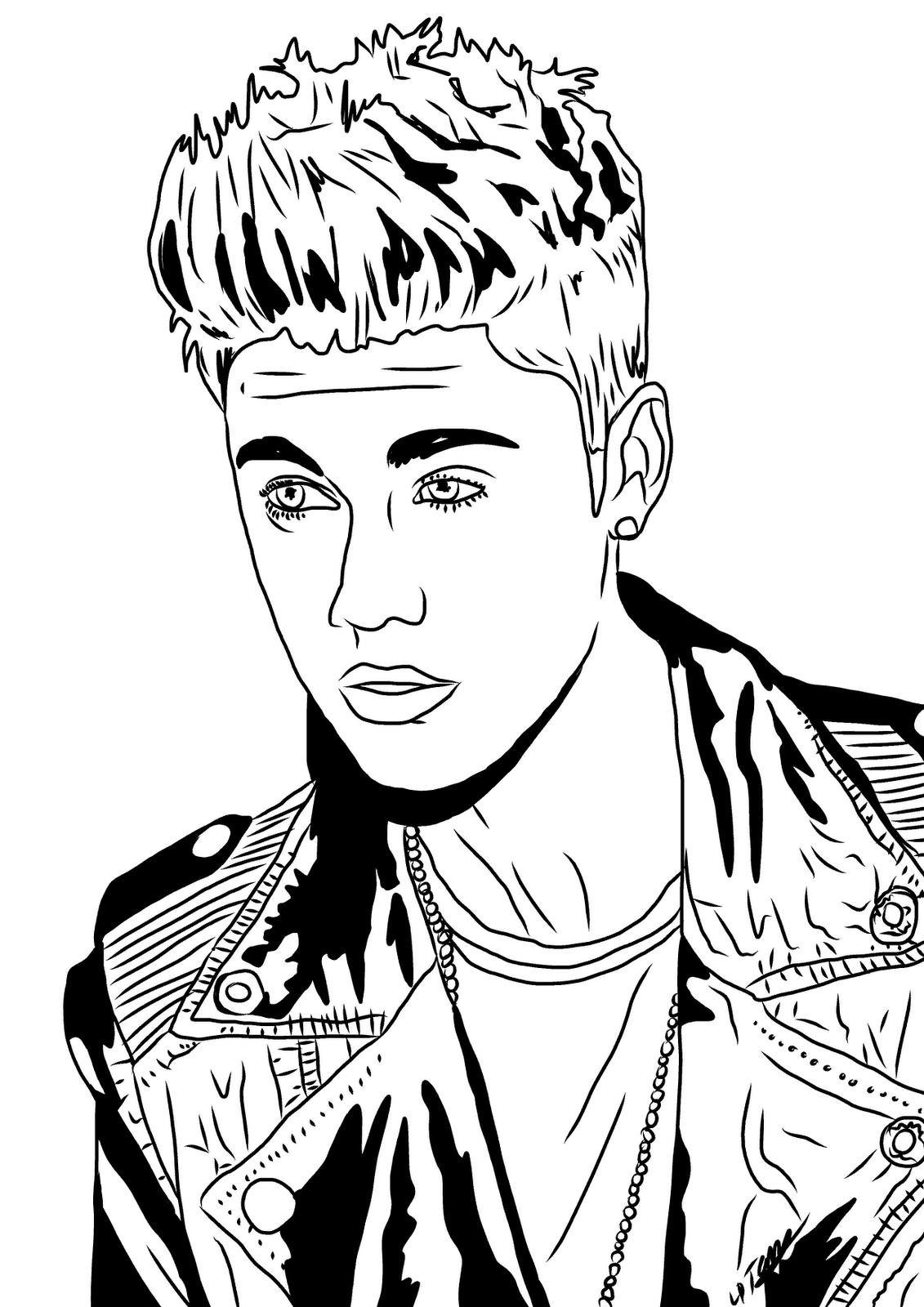 Coloriage Justin Bieber gratuit à imprimer