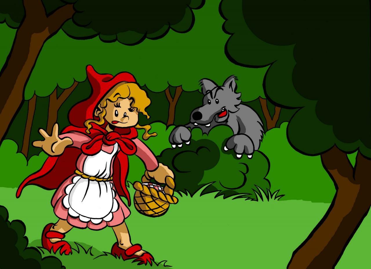 Coloriage loup et chaperon rouge imprimer - Dessin chaperon rouge ...