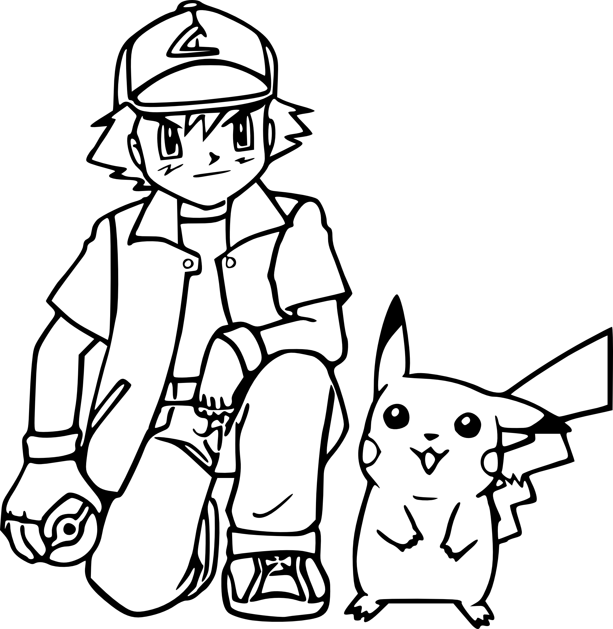 Sacha Pikachu coloriage