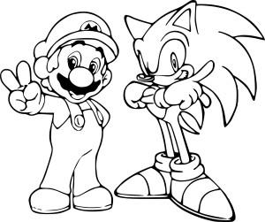 Coloriage de Sonic et Mario