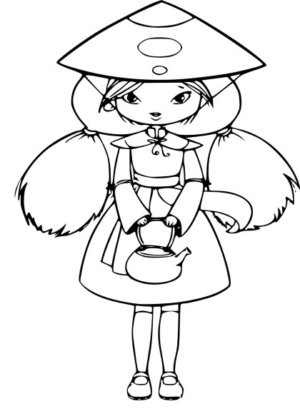 Coloriage fille chinoise