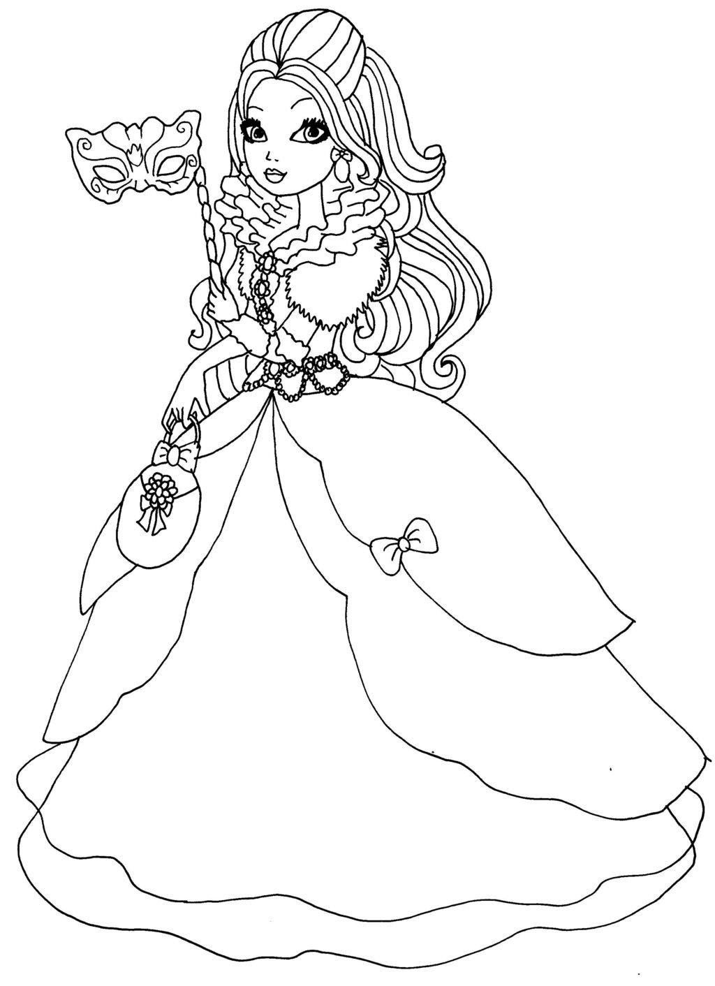 Coloriage fille de Blanche Neige à imprimer