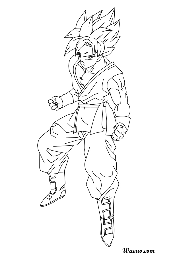 Coloriage sangoku super saiyen divin imprimer - Dessin de dragon ball super ...