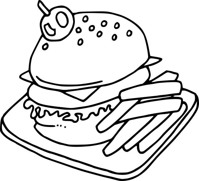 Coloriage hamburger et frites à imprimer