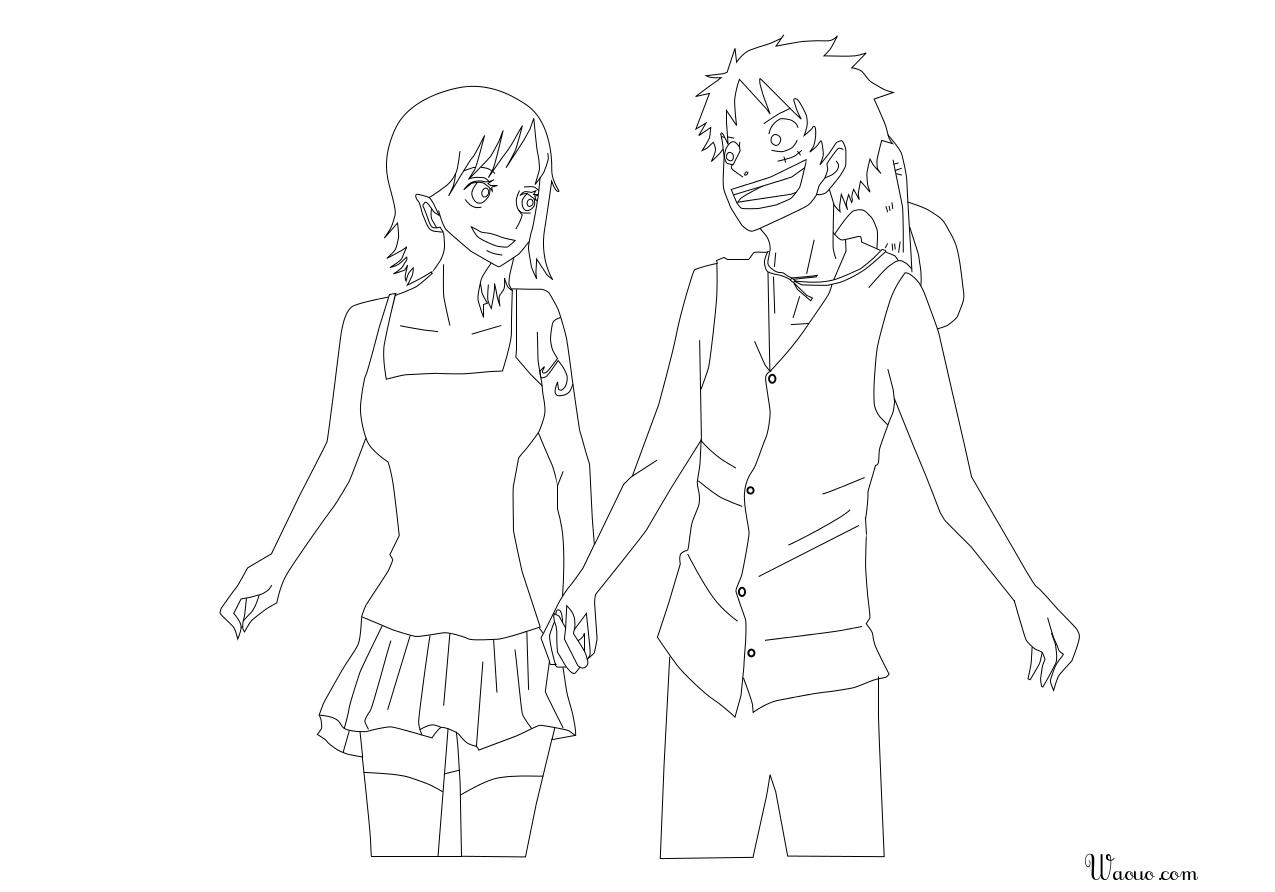 Coloriage Luffy et Nami
