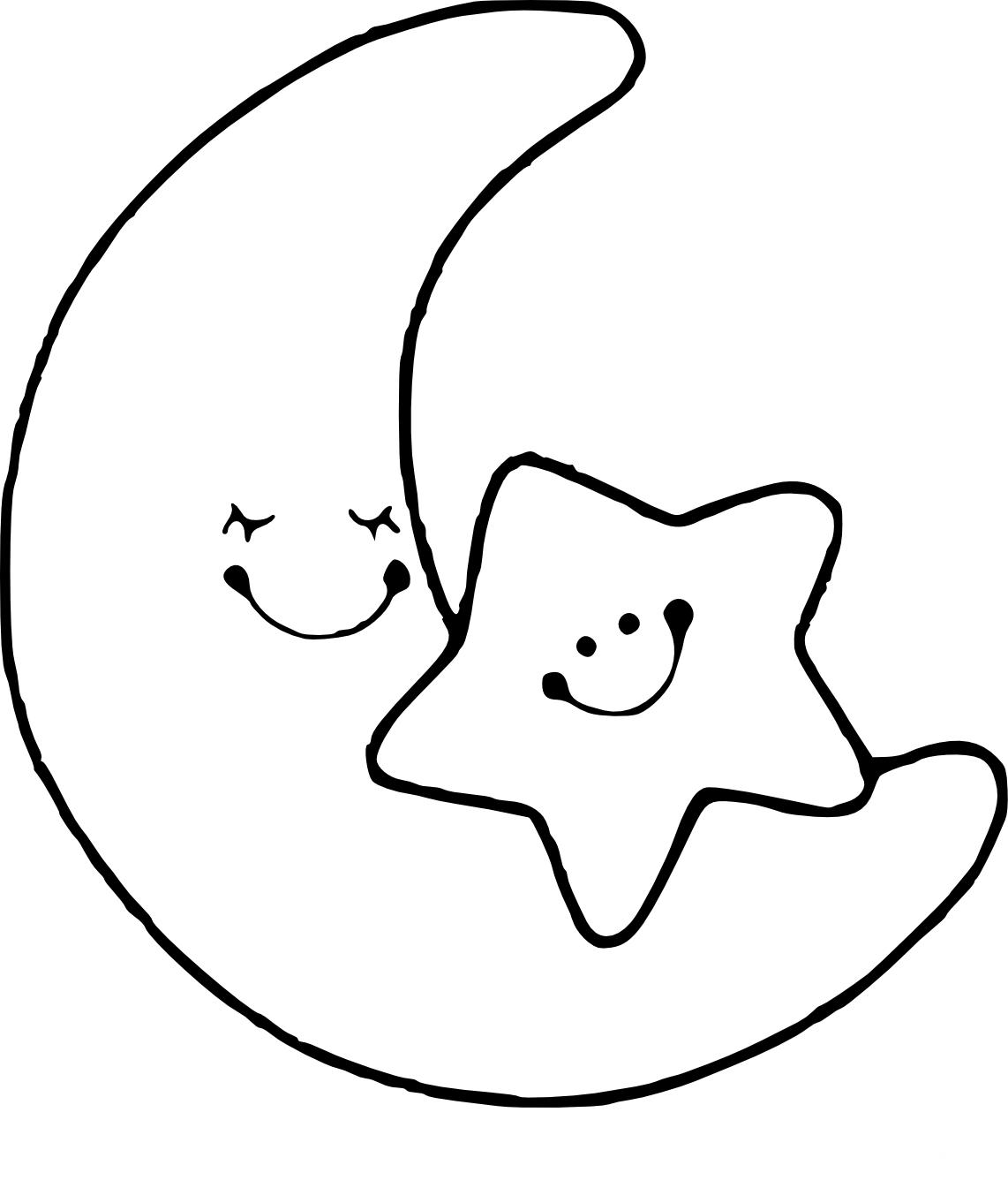 Coloriage lune et toile imprimer - Dessin de lune ...