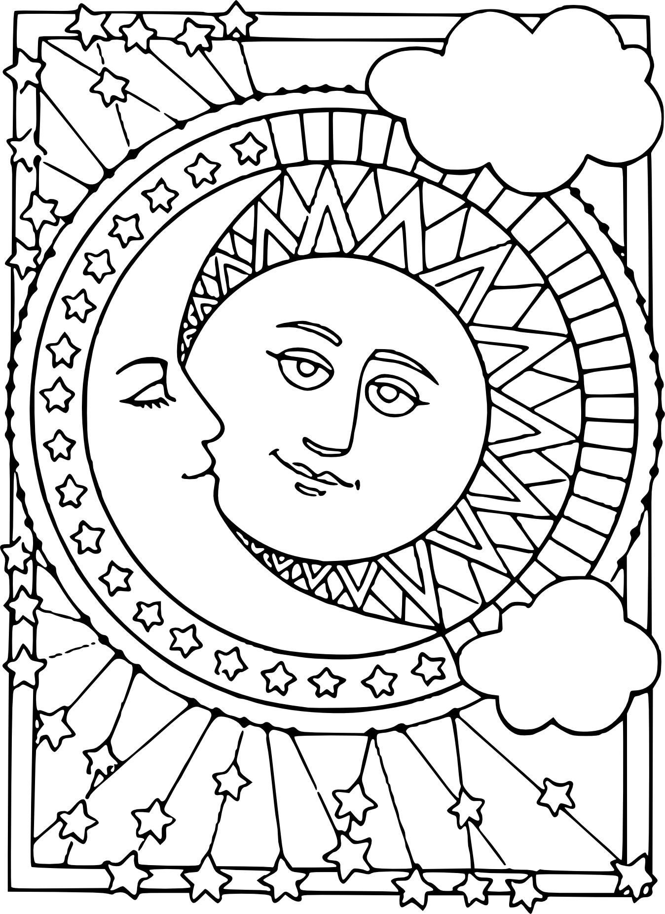 Coloriage lune et soleil imprimer - Dessin de soleil a imprimer ...