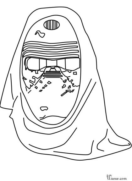 Coloriage masque Kylo Ren