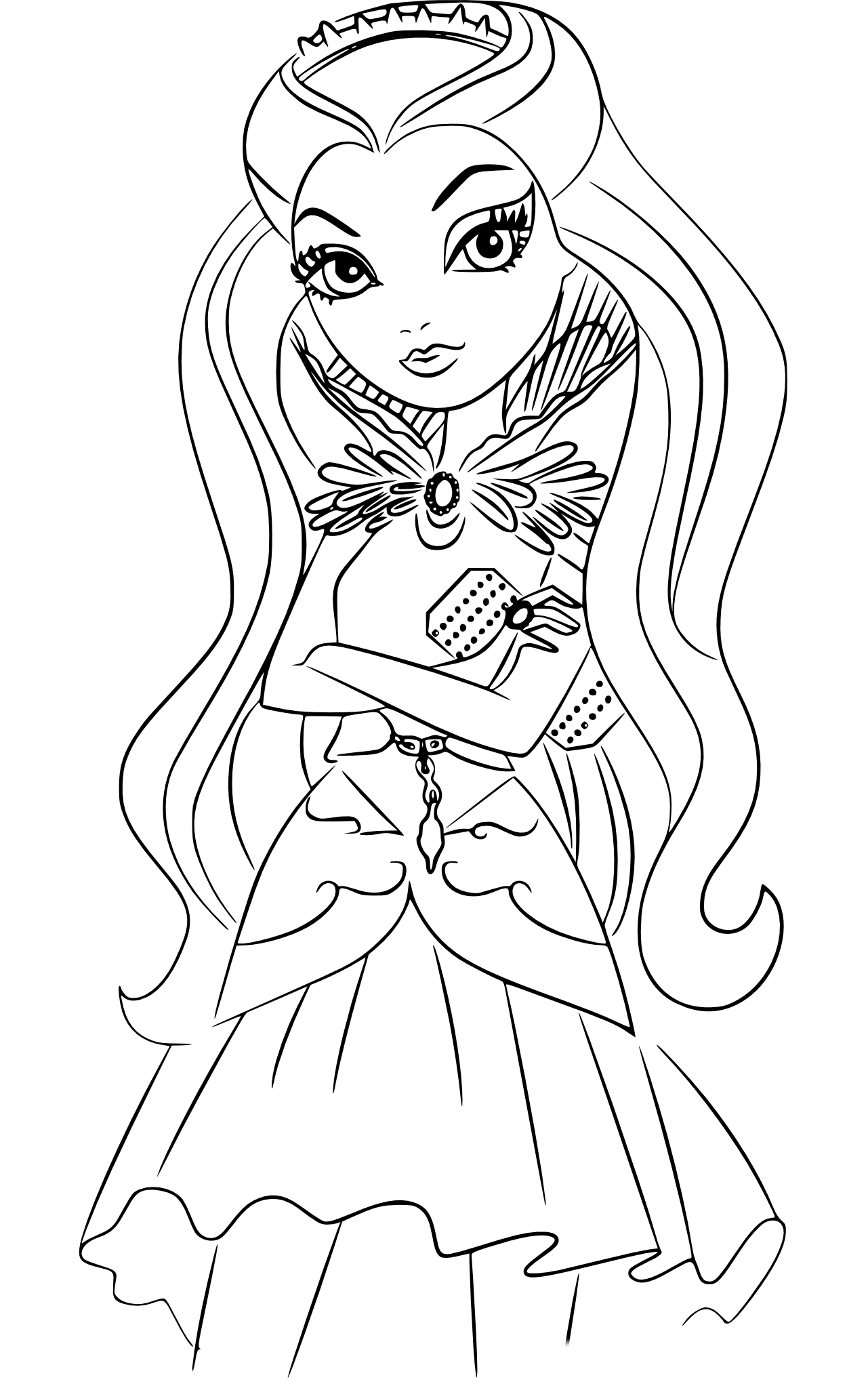 Coloriage raven queen ever after high imprimer - Comment dessiner une monster high ...
