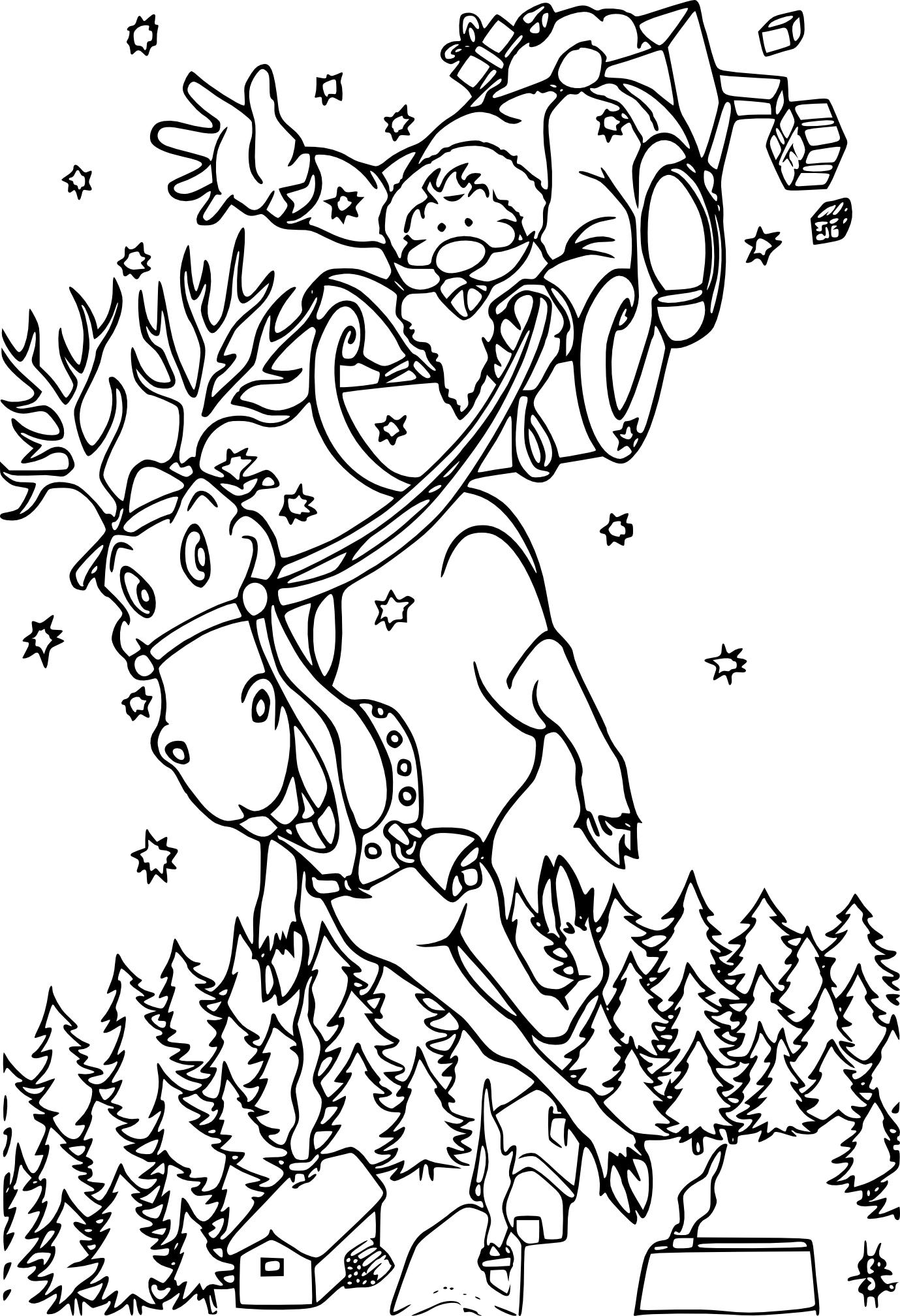 Coloriage renne et Père Noël à imprimer