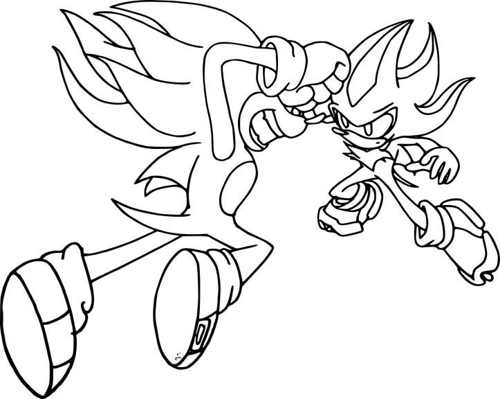 Coloriage Sonic et Shadow