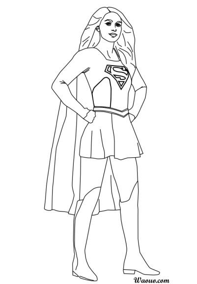 Coloriage Supergirl Melissa Benoist