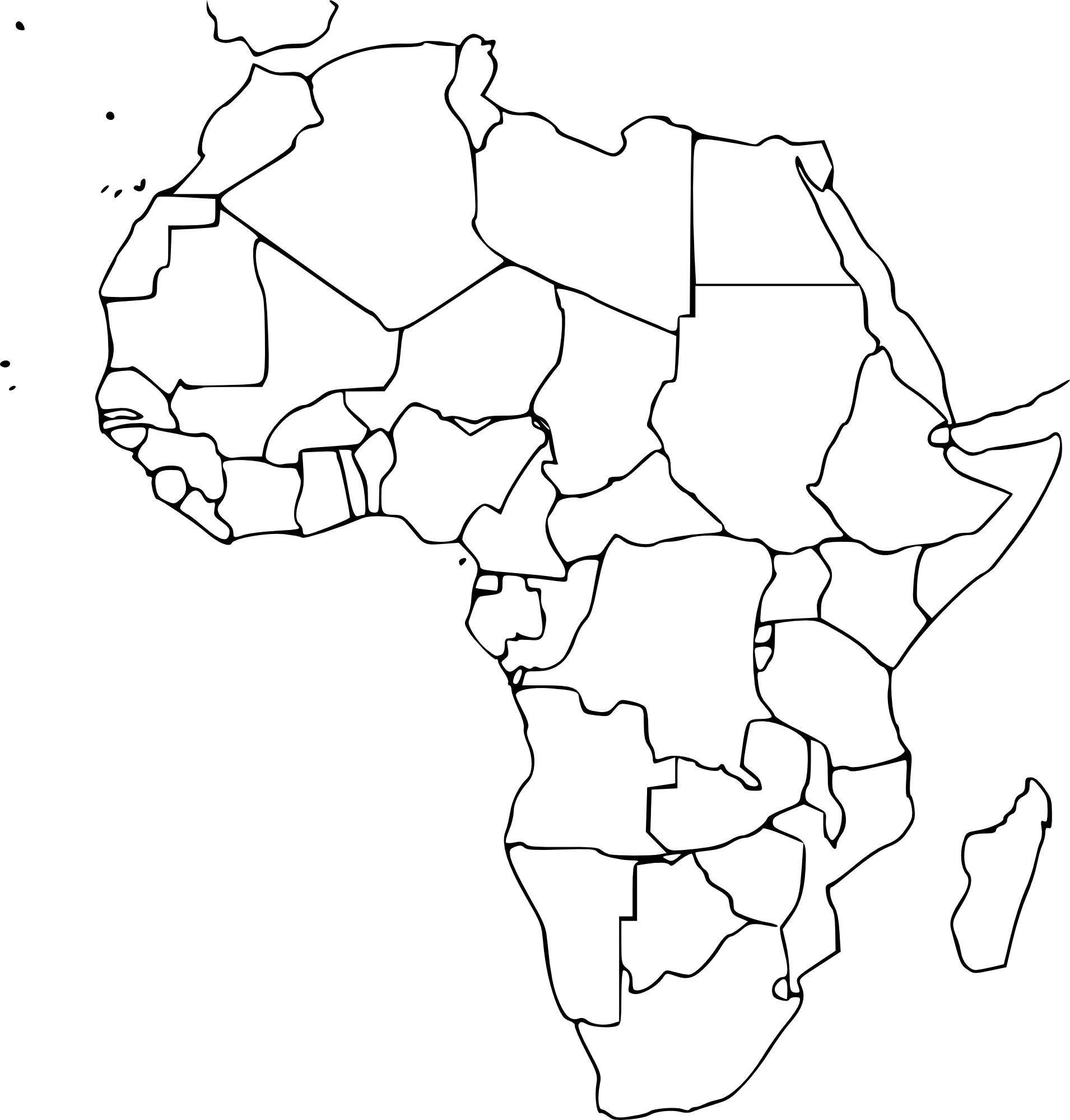 coloriage carte afrique vierge