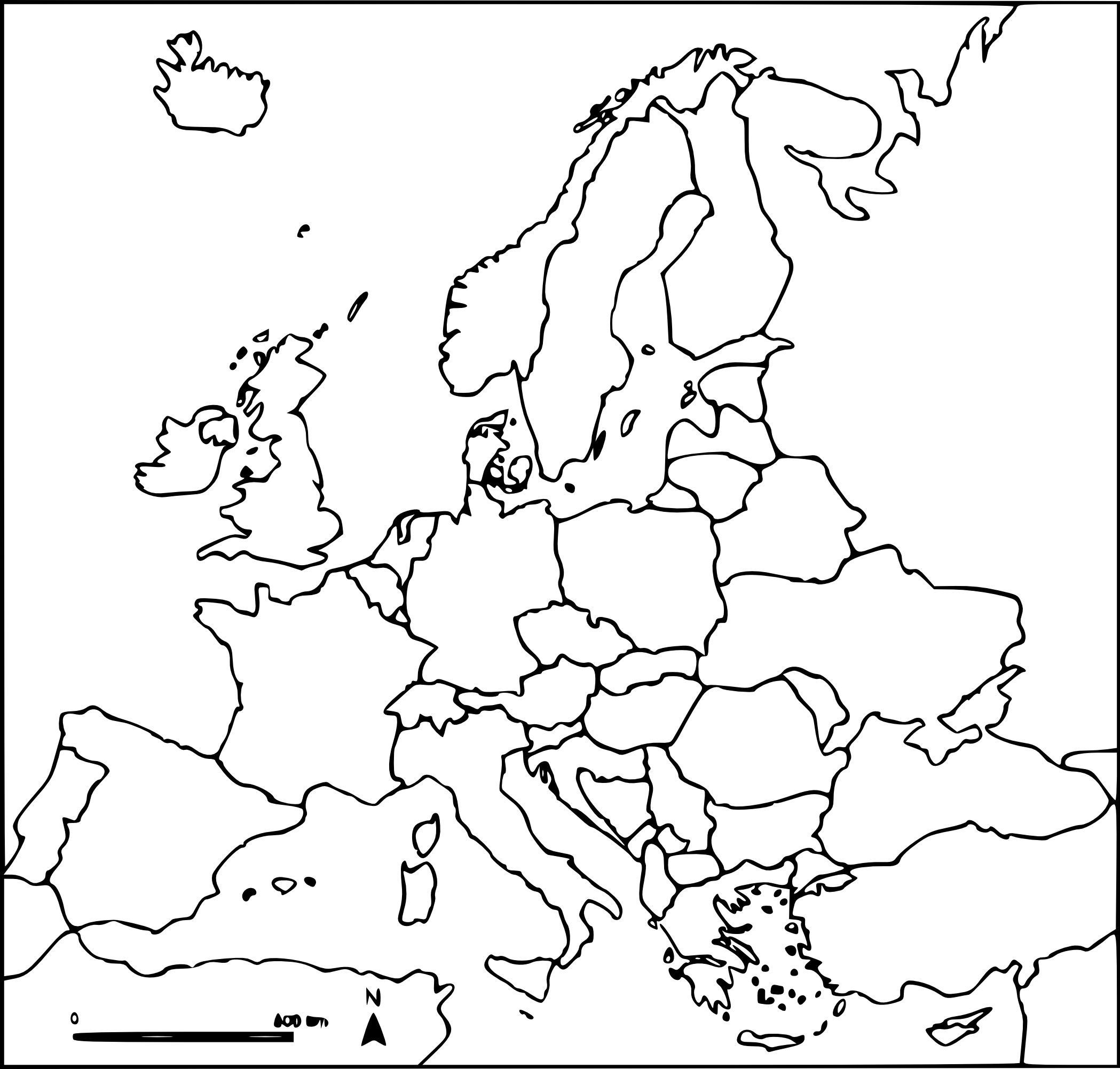 Coloriage carte d'Europe vierge