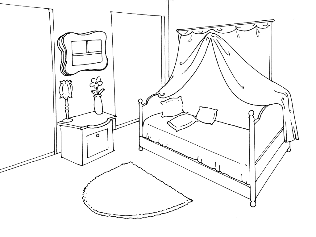 coloriage chambre imprimer. Black Bedroom Furniture Sets. Home Design Ideas