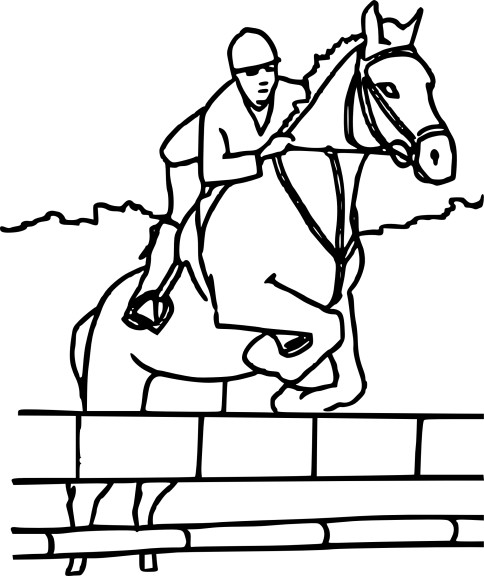 Coloriage cheval qui saute à imprimer