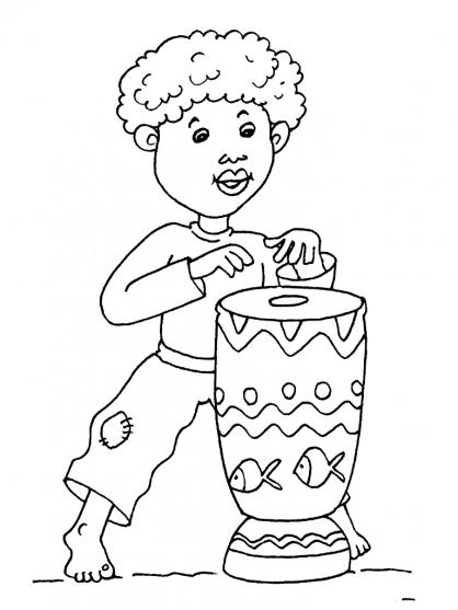 Coloriage enfant africain imprimer - Dessin theme noel ...