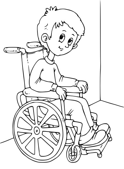 Coloriage fauteuil roulant