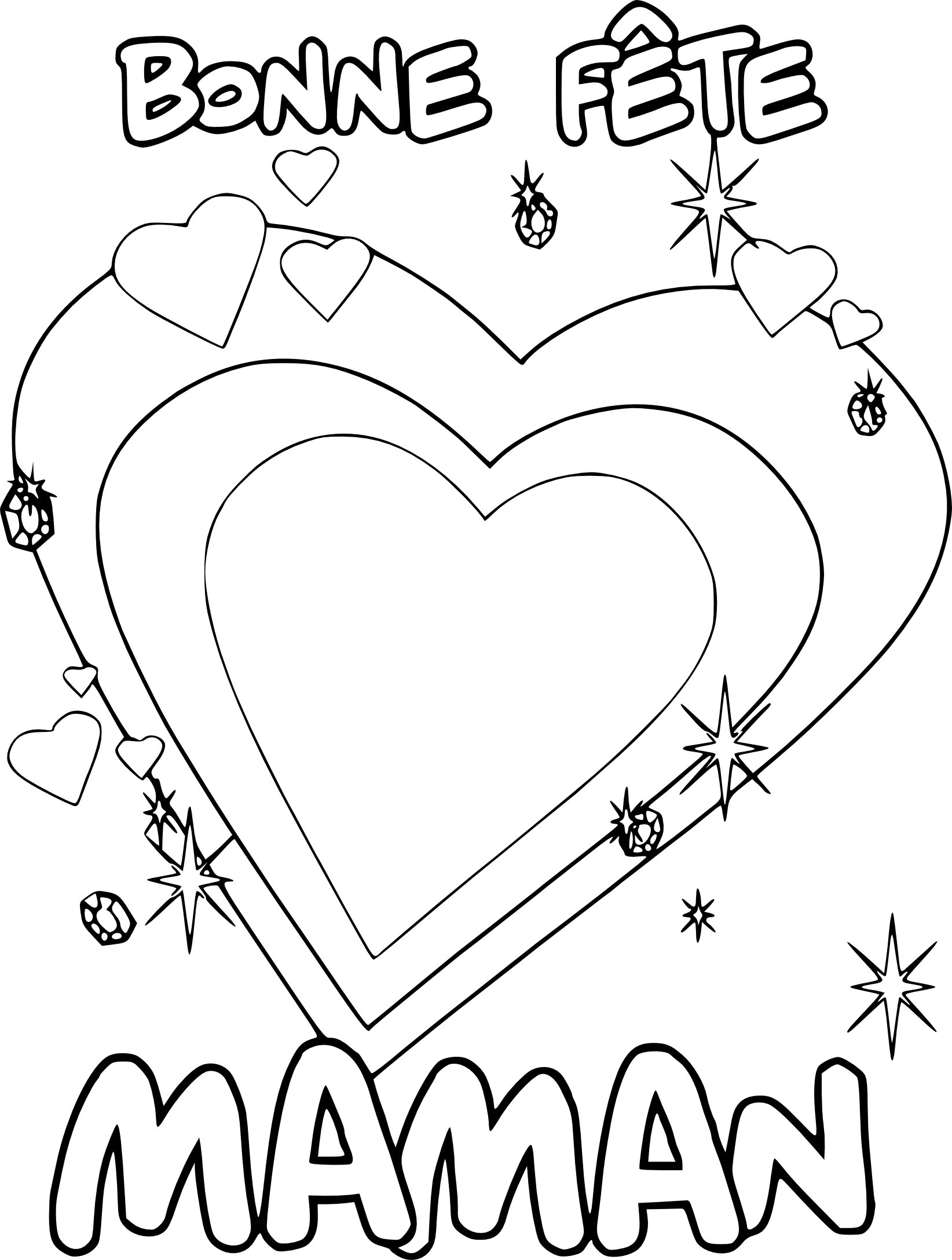 Coloriage fete des meres coeur