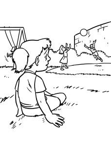 Coloriage fille seule au parc