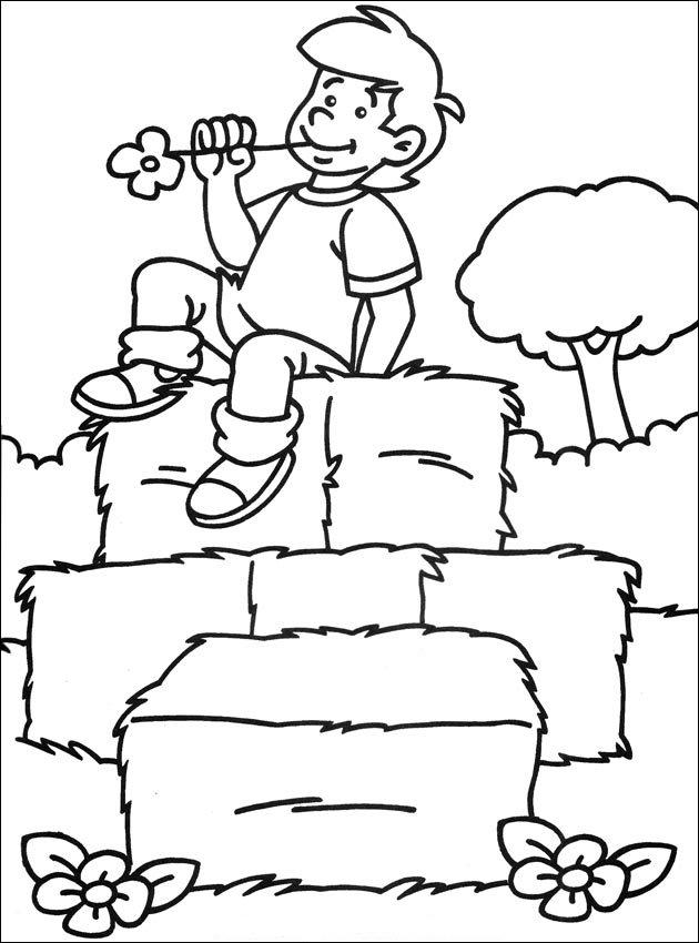 Coloriage garçon à la ferme