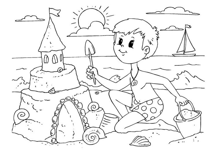 coloriage garon construit un chateau de sable imprimer - Coloriage Garcon