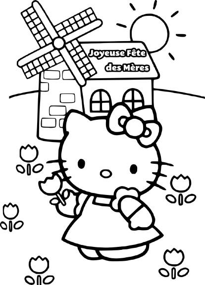 Coloriage Hello Kitty fete des meres